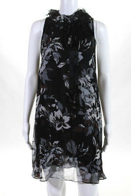 0b728ec438 Anne Fontaine Womens Dress Size IT 42 Multi Color Floral Silk Sleeveless  Ruffle