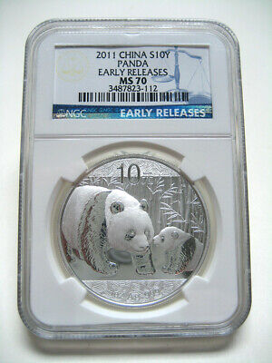 2011 China Silver Panda Coin 1oz Silver S10Y Early Releases NGC MS70 #112 - NICE