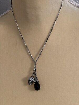 13934bbc28b839 Scott Kay 925 Sterling Silver Skull and onyx Necklace Woman's Jewelry