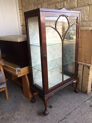 Vintage Mahogany Edwardian Glass Display Cabinet Ball And Claw Feet