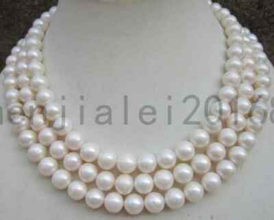 50 Inch Huge Aaa 9-10Mm Round White South Sea Pearl Necklace 14K Gold Clasp
