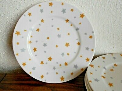 Retroneu Winter Nights -Set of 4- Salad plates stars white silver gold 1998