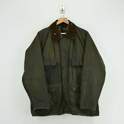 Vintage Barbour Bedale 4 Pocket Green Wax Jacket Patchwork Made In UK L