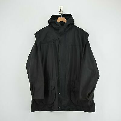 Vintage Barbour A6 Lined Durham Black Hooded Wax Jacket Coat Made In UK L