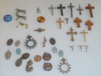 LOT OF 37 Religious Jewelry Medals, Charms, Our Lady, Crucifix, Catholic  Saints