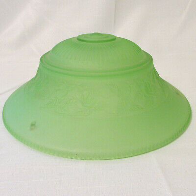 Vintage Art Nouveau Style Green Glass Ceiling Light Shade Three Holes for Chain