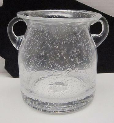 Art Glass Vintage Handblown With Controlled Bubbles Clear Jar With Side Handles