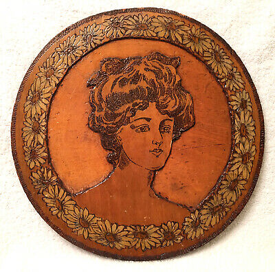Classic Gibson Girl Wood Carved Picture Pyrography Plaque Flemish (853 Art)