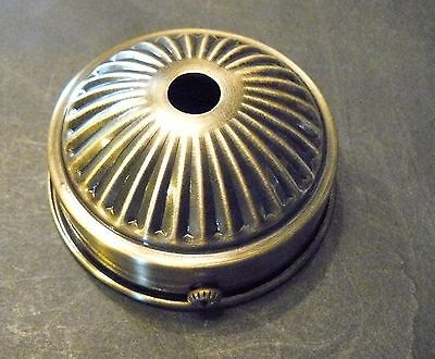"""Holder Cup 2 1/4"""" Fitter Shade Lamp Part Steel Ant. Brass Plate 3/8"""" Hole (HC1)"""