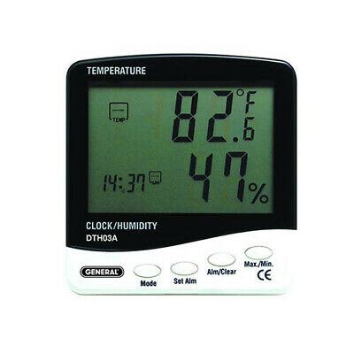 General DTH03A Jumbo Display Humidity/Temperature Meter, 32 to 122F, 20%-90% H