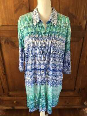 Anne Klein Sleep Shirt XL Extra Large Blue Night gown 3/4 Sleeve Crinkle Knit Pj