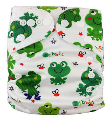 Modern Cloth Reusable Washable Baby Nappy Diaper & Insert Funky Green Frogs