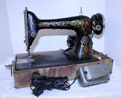 Antique 1910 Singer Sewing Machine in Case w/ Pedal ~ Ornate ~ Runs Needs Work