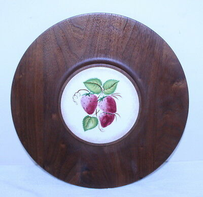 Gladmark Mid Century Mod California Pottery Strawberry Teak Round Serving Tray