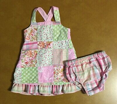 4d984278a Girls BABY GAP Pink Patchwork Dress With Diaper Cover 3 - 6 Months INDIA