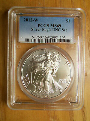 2012-W ANNUAL Uncirculated Dollar Coin Set PCGS MS69 Burnished Silver Eagle