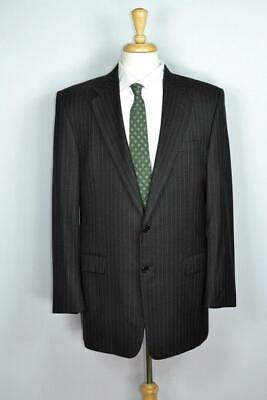 Hickey Freeman Mens 2-BTN Gray Stripe Madison Worsted Wool Suit 42 L