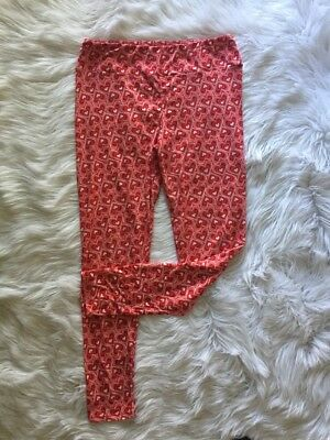 LuLaRoe Womens Tall & Curvy Leggings RED HEART Polyester Spandex