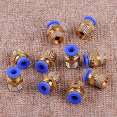 """10 x Pneumatic 6mm x 1/4"""" Male Thread Air House Fitting Quick Coupler Connector"""