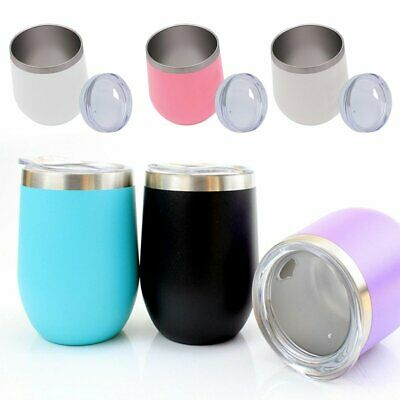 12OZ Wine Tumbler Rambler Cup Double Wall Insulated W/Lid Stainless Steel Cup CU