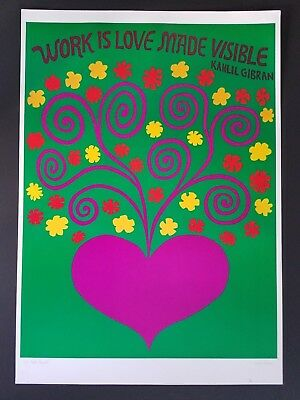 LOVE MADE VISIBLE 1960s VINTAGE ORIGINAL FLOWER POWER HEART POSTER KAHLIL GIBRAN
