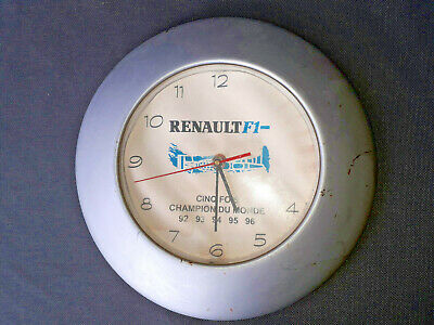 Antique Pendulum Renault F1 Clock Advertising Deco Vintage Old French Renault