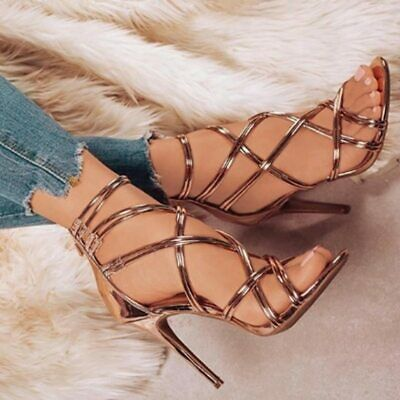 Plus Size 43 PU Leather Women Sandals Thin High Heels Cross Straps Spring