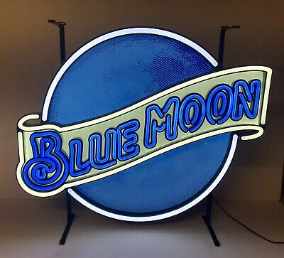 """Blue Moon Belgian White LED Sign With Dimmer - New in Box - 26"""" w  x 22"""" h"""