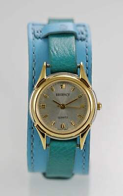 3ab658dc0 Regency Watch Women Stainless Gold Silver Water Resist Blue Leather White  Quartz