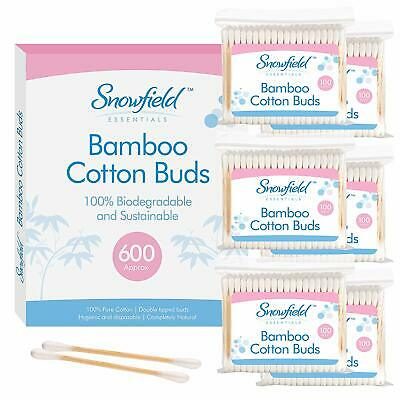 Bamboo Cotton Buds 6pk (6 x 100) by Snowfield | 100% Biodegradable Cotton Buds