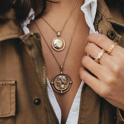 Alloy Coin Necklace Figure Medal Pendant Personalized Women Choker Double-layer