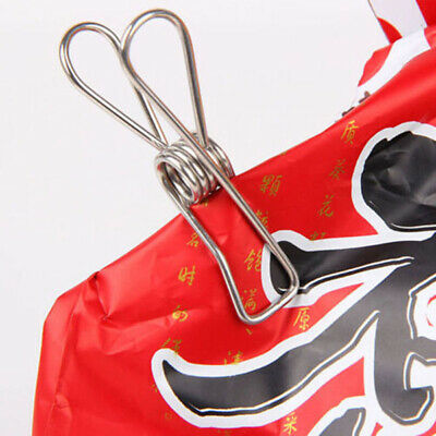 20x Stainless Steel Metal Clothes Pegs Laundry Windproof Clamp Hanging Clips Set