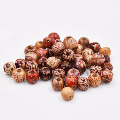 200 Pcs/Set 10mm/ 12mm Mixed Hole Wooden Beads For Charms Crafts DIY Accessory