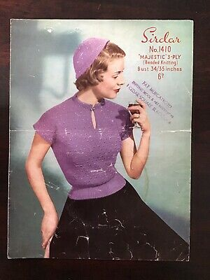 "Bust Fit 32in 1940/'s Knitting Pattern Teenager Lady/'s /""Teen-Age/"" Jumper"