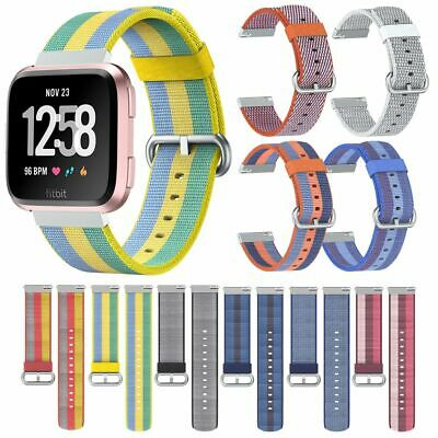 Woven Canvas Nylon Sport Replacement Band Strap Wristband For Fitbit Versa Lite