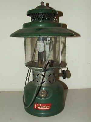 Vintage Coleman 228E Green Big Hat Lantern - Camping Hunting Double Mantle
