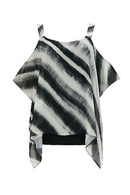 Wallis Black And White Striped Overlay Top Size S UK 8/10 rrp £38 DH092 AA 16