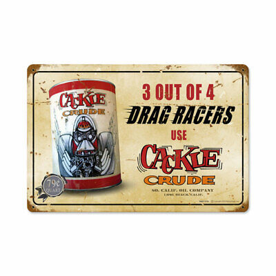 VINTAGE METAL GARAGE MANCAVE SIGN Cackle Crude 18 x 12