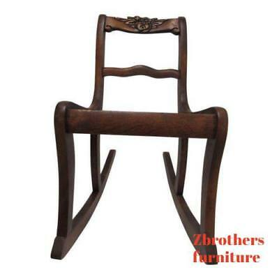 Antique Rose Carved Mahogany Child's Doll Rocker Rocking Chair