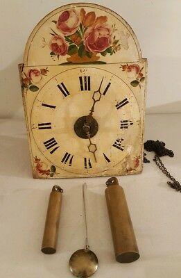 Antique 19th C. German Victorian Wag On Wall Clock with Hand Painted Dial C.1830