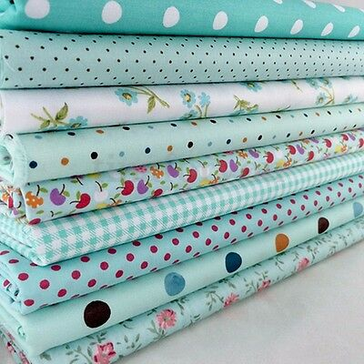 New 9Pcs Bundles Fabric Cotton Florals Gingham DIY Craft Quilt Sewing New