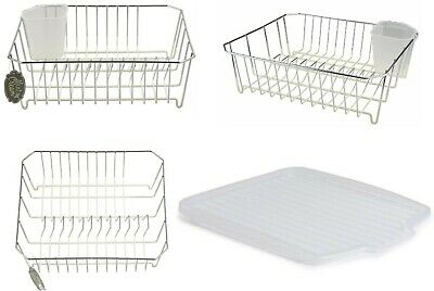 Chrome Metal Wire Dip Dish Drainer Coated Non Scratch Base And Drip Tray Clear