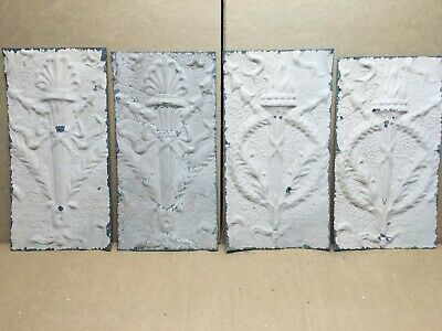 "4 pc 15"" x 8"" Torch Antique Ceiling Tin Vintage Reclaimed Salvage Art Craft"