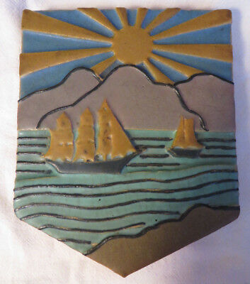 Unusual Antique Rookwood Faience Pottery Arts & Crafts Ship Tile