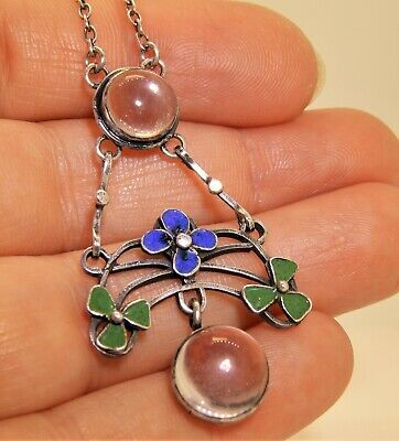 Antique Ww1 Enamel Forget Me Not Lucky Clover Rock Crystal Silver Necklace
