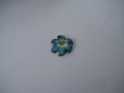 Victorian Blue Cloisonne Enamel Flower Pin with Safety Pin Clasp in Brass