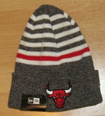 online store 8bf22 4ecdd Chicago Bulls New Era Striped Chill Traditional Cuffed Winter Knit hat cap  Men s