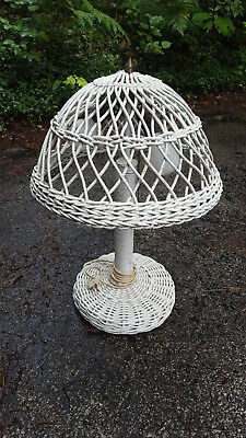 Antique Reed Wicker Table Lamp Bar Harbor Design Painted White Circa 1920