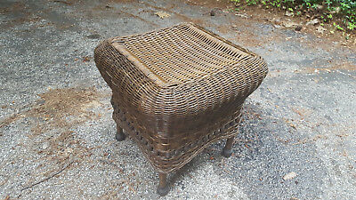 Antique Reed Wicker Square Ottoman Closely Woven Natural w/ Stain Circa 1900