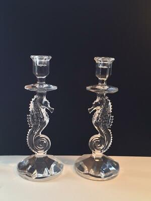 Waterford Crystal Pair Of Seahorse Candlesticks Cr1561
